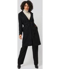 trendyol belt woolen coat - black
