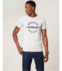 camiseta slim listrada authentic malwee cinza claro - g