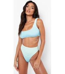 gekreukelde ombre bikini top met lage ronde hals, blue