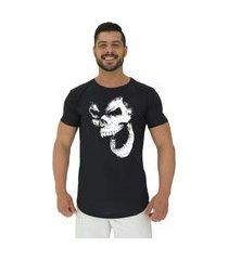 camiseta longline alto conceito gorilla skull preto