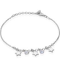 bracciale in argento rodiato con ciondoli stella e zirconi per donna