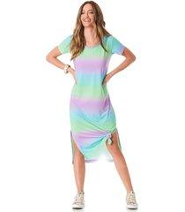vestido midi yacamim camisetão multicolorido
