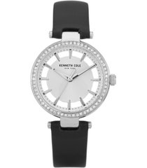 kenneth cole new york women's diamond dial black genuine leather strap watch 34mm