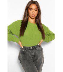 crop top met crewneck, appelgroen