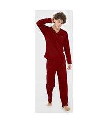 pijama linha noite longo vermelho bordô