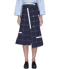 contrast panel grid print asymmetric wrap skirt