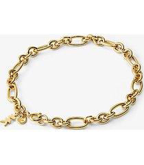 mk bracciale base con ciondolo in argento sterling con placcatura in metallo prezioso e maglie a catena - oro (oro) - michael kors