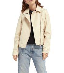 women's scotch & soda leather biker jacket, size small - ivory