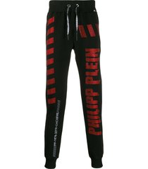 philipp plein rhinestone-embellished track pants - black