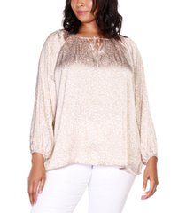 belldini black label plus size printed tie neck top with blouson sleeves