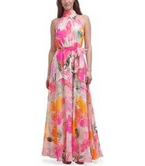 eliza j petite floral-print chiffon halter gown