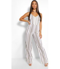 striped linen wide leg jumpsuit, khaki