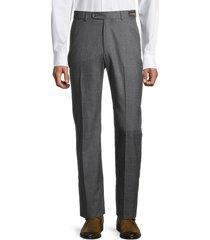 saks fifth avenue men's standard-fit wool, silk & linen pants - grey - size 38