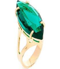 anel  navete  semijoia banho de ouro 18k cristal verde esmeralda