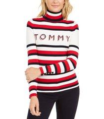 tommy hilfiger striped button-sleeve turtleneck sweater