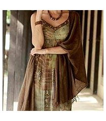 wool shawl, 'forever elegant in chocolate' (india)