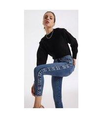 blusa iodice decote redondo manga longa com sobreposição preto