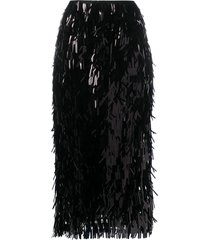 simone rocha paillette sequin straight skirt - black