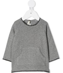 zhoe & tobiah pouch-pocket knitted jumper - grey