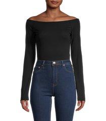 donna karan new york women's bateau-neck bodysuit - black - size s