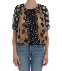 dolce & gabbana patchwork chiffon shirt