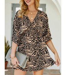 caqui ruffle trim zebra raya con cuello en v 3/4 longitud mangas vestido