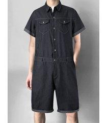 hombres verano casual botón liso frente multi-bolsillo denim mono