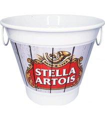 balde de gelo alumínio temático cerveja branco 27x27x20cm