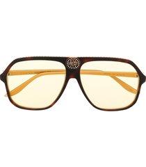 gucci eyewear retro oversize-frame sunglasses - brown