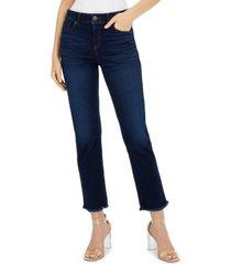inc curvy straight-leg frayed-hem ankle jeans, created for macy's