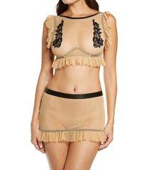 hauty ruffle trim mesh bralette & skirt set in nude-black at nordstrom