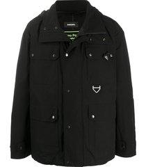 diesel techno poplin field jacket - black