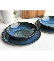 zestaw ceramiczny dla dwojga talerz miska