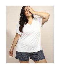 pijama feminino plus size com estampa de poá manga curta azul marinho