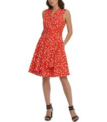 dkny printed pleated fit & flare dress