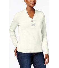 karen scott petite cotton toggle henley sweater, created for macy's