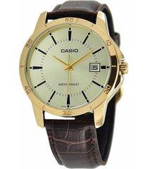 reloj analógico hombre casio mtp-v004gl9a - marrón con blanco