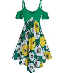 flower print cold shoulder pointed hem dress
