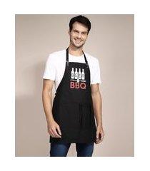 """avental de algodão beer bbq"""" preto"""""""