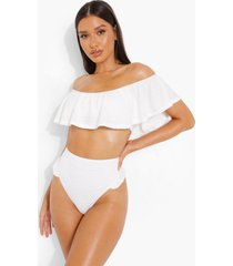 bride bikini broekje met textuur, franjes en hoge taille, white