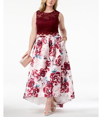morgan & company trendy plus size 2-pc. printed lace gown