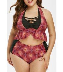 plus size floral pattern crisscross halter tankini swimsuit