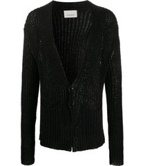 laneus open knit mid-length cardigan - black