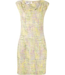 chanel pre-owned 1998 cowl neck tweed dress - yellow