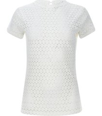 camiseta mujer en blonda color blanco, talla 14