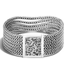 john hardy flat classic multi row bracelet, size medium in silver at nordstrom
