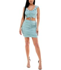 city studios juniors' ruched bodycon two-piece dress