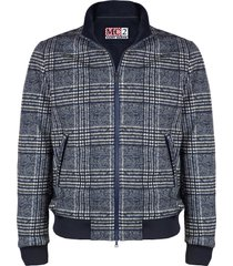 blue prince of wales checked mid season jacket