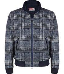 blue prince of wales checked mid season jacket