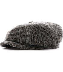 stetson hats hatteras herringbone wool flat cap   grey   6840510-331